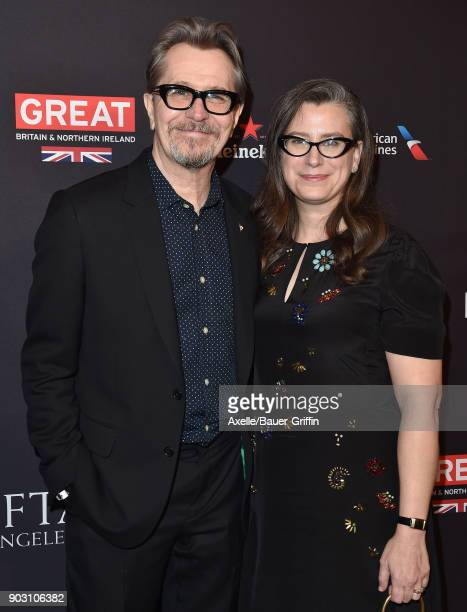Actor Gary Oldman and Gisele Schmidt arrive at The BAFTA Los Angeles Tea Party at Four Seasons Hotel Los Angeles at Beverly Hills on January 6 2018...