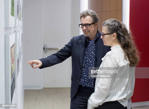 Actor Gary Oldman and Gisele Schmidt at Churchill Library Meet and Greet Darkest Hour Tour at National Churchill Library and Center on November 3...