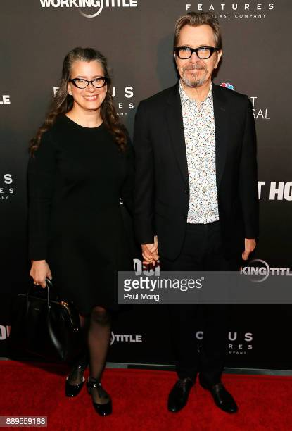 Actor Gary Oldman and Gisele Schmidt attend a DC special screening of 'Darkest Hour' with Gary Oldman and Director Joe Wright at the US Navy Memorial...