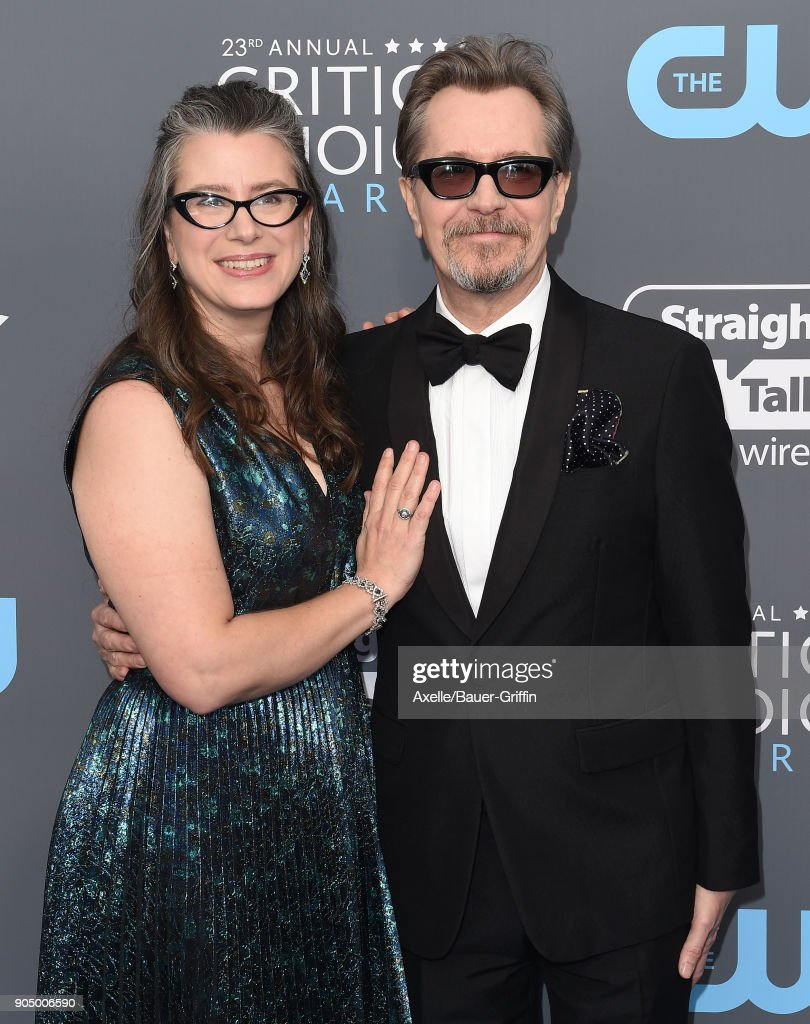 Actor Gary Oldman and Gisele Schmidt attend the 23rd Annual Critics' Choice Awards at Barker Hangar on January 11, 2018 in Santa Monica, California.