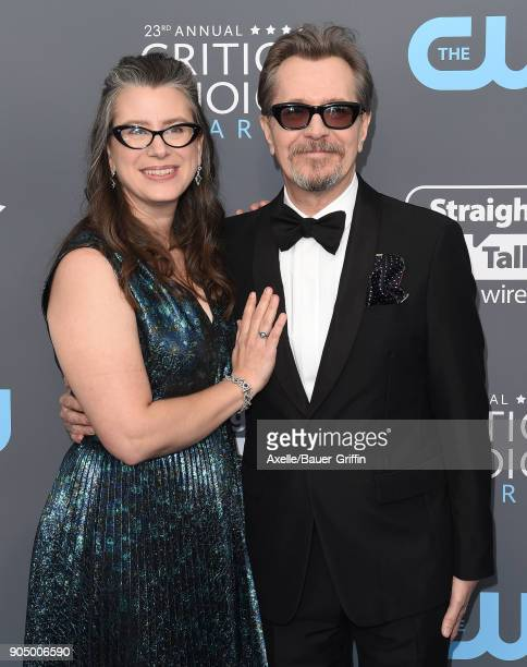 Actor Gary Oldman and Gisele Schmidt attend the 23rd Annual Critics' Choice Awards at Barker Hangar on January 11 2018 in Santa Monica California