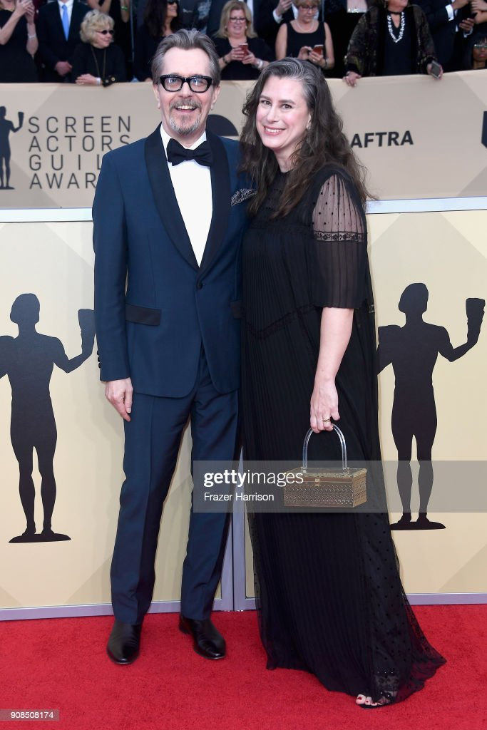 Actor Gary Oldman and Gisele Schmidt attend the 24th Annual Screen Actors Guild Awards at The Shrine Auditorium on January 21, 2018 in Los Angeles, California.