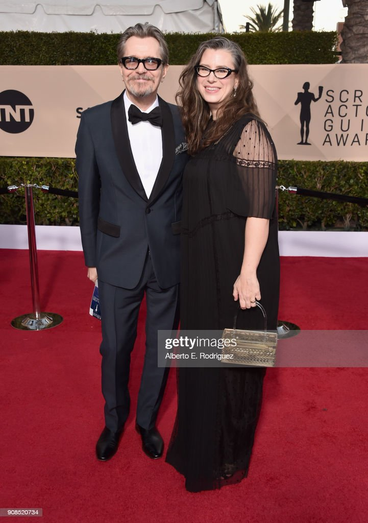 Actor Gary Oldman (L) and Gisele Schmidt attend the 24th Annual Screen Actors Guild Awards at The Shrine Auditorium on January 21, 2018 in Los Angeles, California. 27522_006