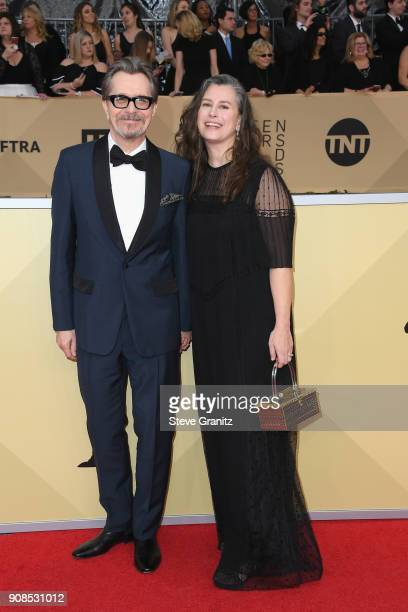 Actor Gary Oldman and Gisele Schmidt attend the 24th Annual Screen ActorsGuild Awards at The Shrine Auditorium on January 21 2018 in Los Angeles...
