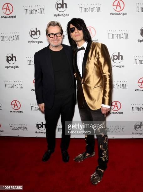 Actor Gary Oldman and illusionist Criss Angel attend the grand opening of Criss Angel MINDFREAK at Planet Hollywood Resort Casino on January 19 2019...