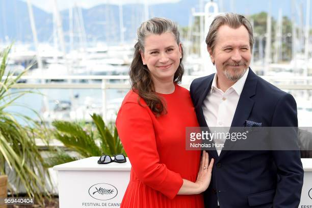 Actor Gary Oldman and wife Gisele Schmidt attend the RendezVous with Gary Oldman Photocall during the 71st annual Cannes Film Festival at Palais des...