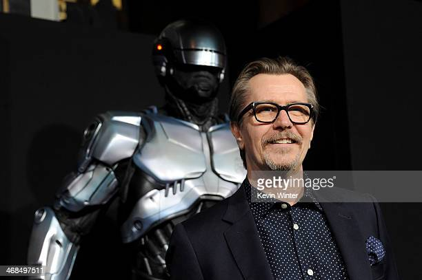 Actor Gary Oldman arrives at the premiere of Columbia Pictures' 'Robocop' at TCL Chinese Theatre on February 10 2014 in Hollywood California