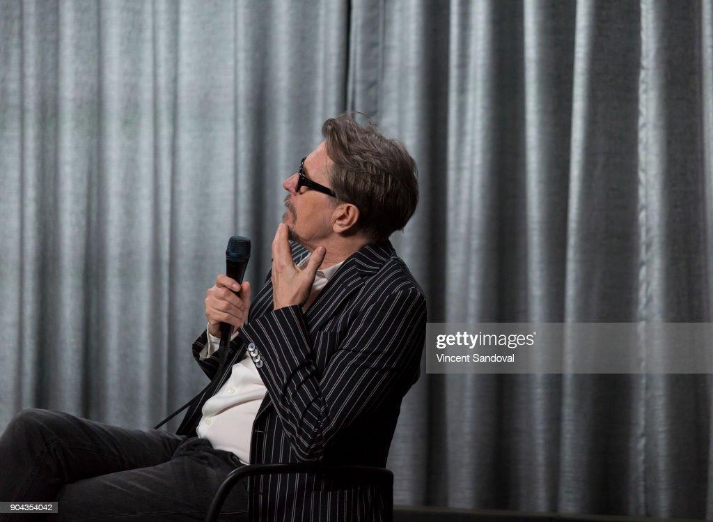 Actor Gary Oldman attends SAG-AFTRA Foundation Conversations screening of 'Darkest Hour' at SAG-AFTRA Foundation Screening Room on January 12, 2018 in Los Angeles, California.