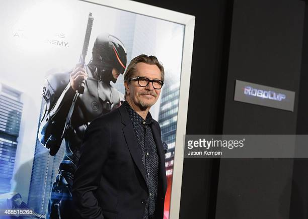 """Actor Gary Oldman attends the premiere of Columbia Pictures' """"Robocop"""" on February 10, 2014 in Hollywood, California."""