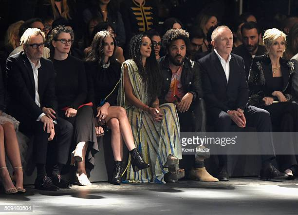 Actor Gary Oldman Gisele Schmidt actors Demi Moore in Saint Laurent by Hedi Slimane Lisa Bonet recording artist Lenny Kravitz CEO of Kering...