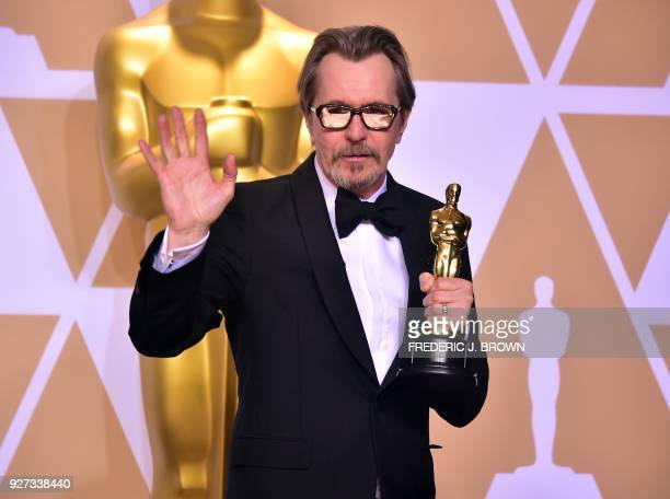Actor Gary Oldman poses in the press room with the Oscar for best actor during the 90th Annual Academy Awards on March 4 in Hollywood, California.