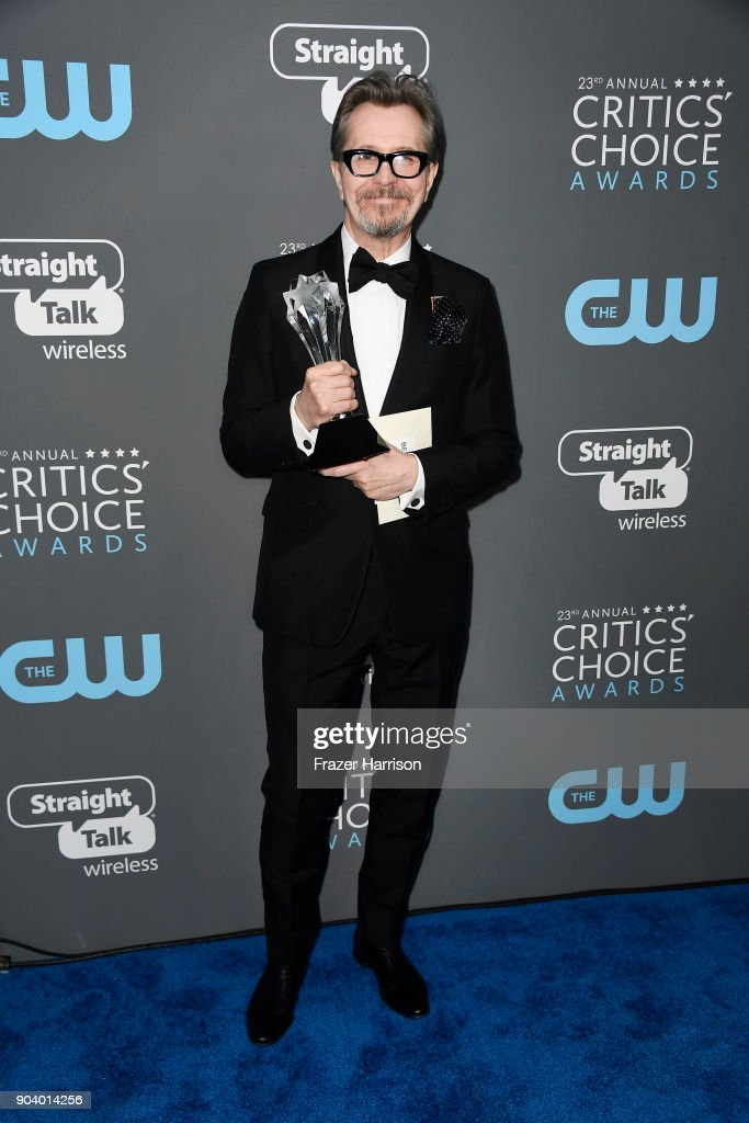 Actor Gary Oldman, recipient of the Best Actor award for 'Darkest Hour', poses in the press room during The 23rd Annual Critics' Choice Awards at Barker Hangar on January 11, 2018 in Santa Monica, California.