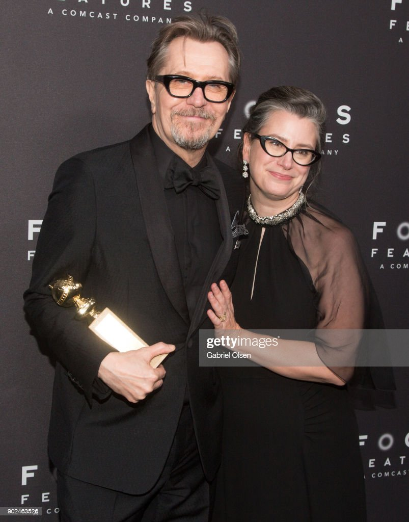 Actor Gary Oldman, recipient of the Best Performance by an Actor in a Motion Picture - Drama award for 'Darkest Hour', and wife Gisele Schmidt, attend the Focus Features Golden Globe Awards After Party on January 7, 2018 in Beverly Hills, California.