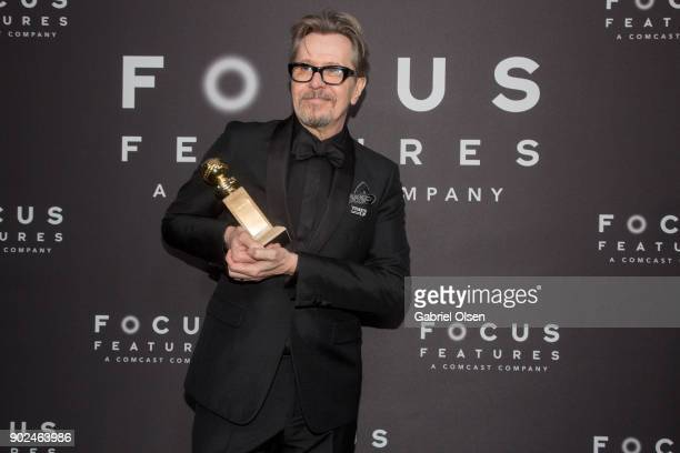 Actor Gary Oldman recipient of the Best Performance by an Actor in a Motion Picture Drama award for 'Darkest Hour' attends the Focus Features Golden...