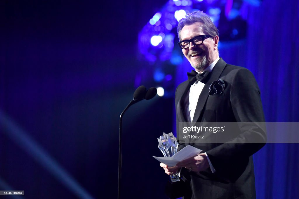 Actor Gary Oldman speaks on stage at The 23rd Annual Critics' Choice Awards at Barker Hangar on January 11, 2018 in Santa Monica, California.