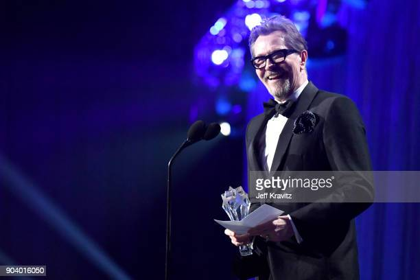 Actor Gary Oldman speaks on stage at The 23rd Annual Critics' Choice Awards at Barker Hangar on January 11 2018 in Santa Monica California