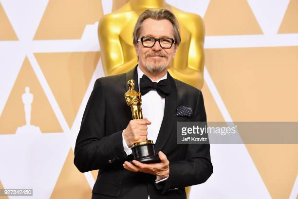 Actor Gary Oldman winner of Best Actor for 'Darkest Hour' poses in the press room during the 90th Annual Academy Awards at Hollywood Highland Center...