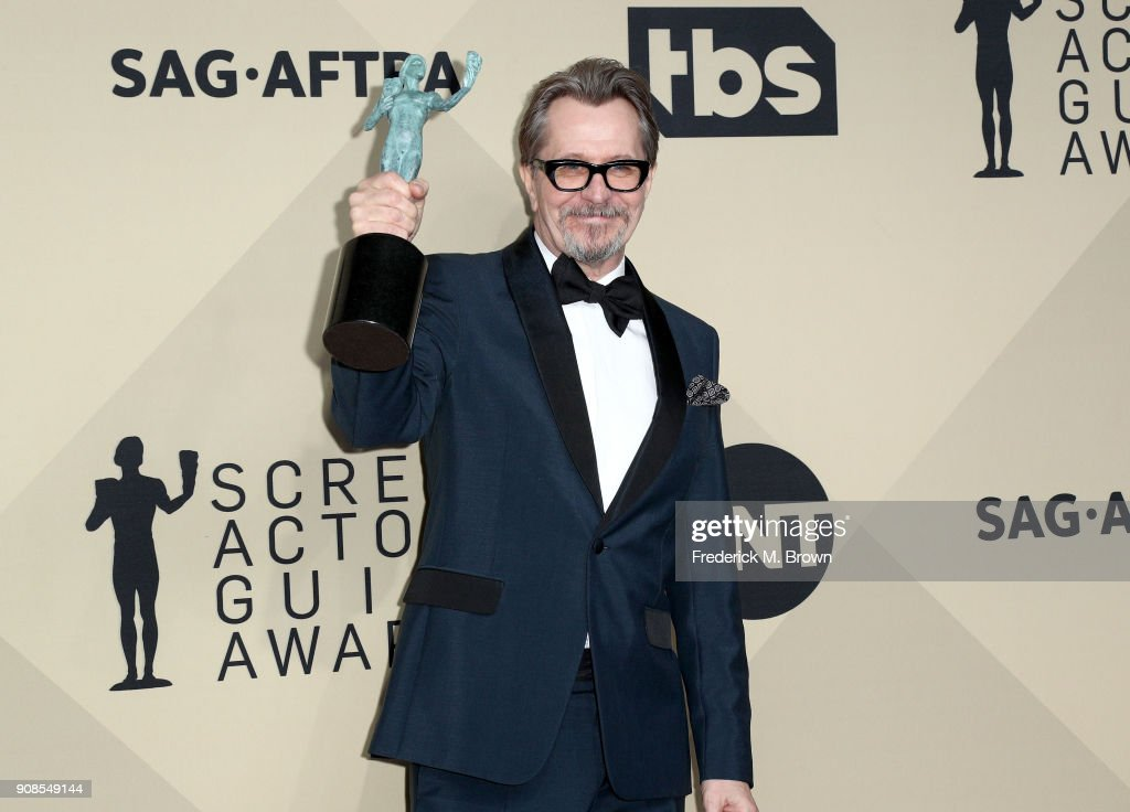 Actor Gary Oldman, winner of Outstanding Performance by a Male Actor in a Leading Role for 'Darkest Hour', poses in the press room during the 24th Annual Screen Actors Guild Awards at The Shrine Auditorium on January 21, 2018 in Los Angeles, California. 27522_017