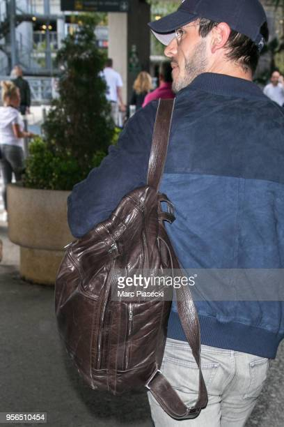 Actor Gaspard Ulliel backpack detail is seen during the 71st annual Cannes Film Festival at Nice Airport on May 9 2018 in Nice France