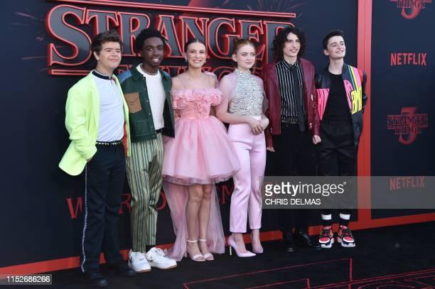 Actor Gaten Matarazzo, US actor Caleb McLaughlin, British actress Millie Bobby Brown, US actress Sadie Sink, Canadian actor Finn Wolfhard and US...