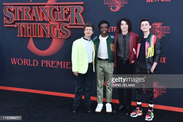 "Actor Gaten Matarazzo, US actor Caleb McLaughlin, Canadian actor Finn Wolfhard and US actor Noah Schnapp attend Netflix's ""Stranger Things 3""..."