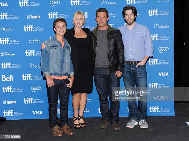 Actor Gattlin Griffith, Actress Kate Winslet, Actor Josh Brolin and Director Jason Reitman pose at the 'Labor Day' Press Conference during the 2013...