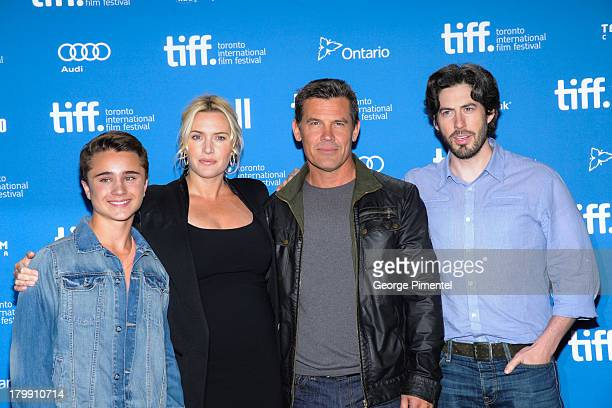 Actor Gattlin Griffith Actress Kate Winslet Actor Josh Brolin and Director Jason Reitman pose at the 'Labor Day' Press Conference during the 2013...