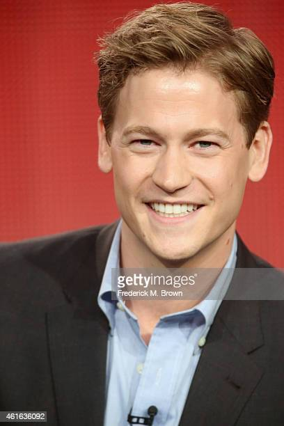 Actor Gavin Stenhouse onstage during the 'Allegiance' panel discussion at the NBC/Universal portion of the 2015 Winter TCA Tour at the Langham Hotel...