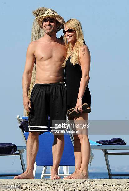 Actor Gedeon Burkhard and his girlfriend Annika Bohrmann are seen at the Ischia Global Fest 2011 on July 17, 2011 in Ischia, Italy.