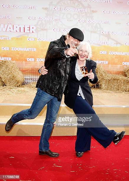 Actor Gedeon Burkhard and mother Elisabeth von Molo attend the Premiere of 'Zookeeper' at CineStar on June 20, 2011 in Berlin, Germany.