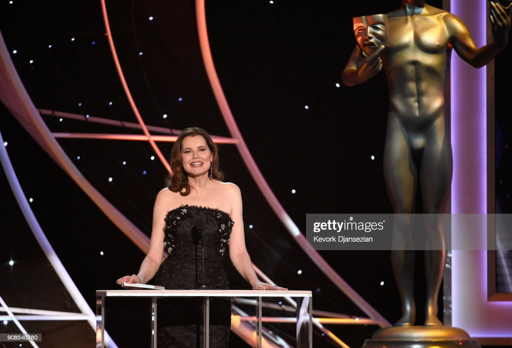 Actor Geena Davis onstage during the 24th Annual Screen Actors Guild Awards at The Shrine Auditorium on January 21, 2018 in Los Angeles, California.