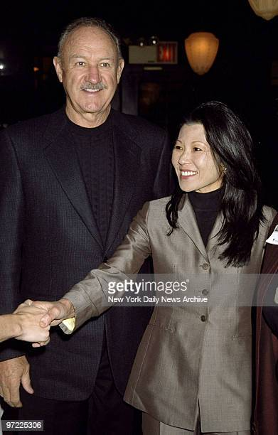 """Actor Gene Hackman with his wife Betsy Arakawa at Elaine's promoting his book """"Wake of the Perido Star."""""""