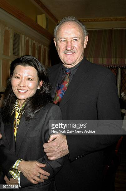 Actor Gene Hackman with wife Betsy Arakawa at the United Celebral Palsy of New York City's 15th annual Champagne Stakes at Etoile restaurant on E...