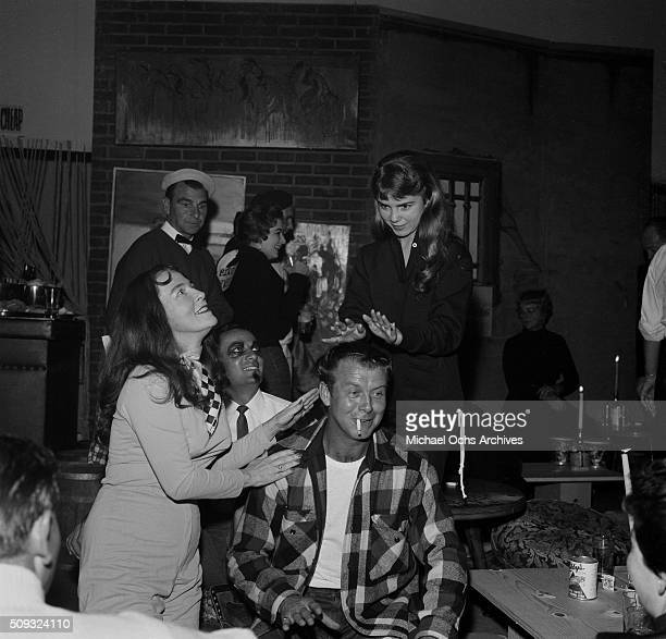 Actor Gene Nelson plays the bongos at Pandora's Coffee House on Sunset Boulevard in Los AngelesCalifornia Gene Nelson