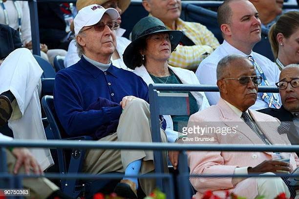 Actor Gene Wilder and former New York City Mayor David Dinkins at the match between Roger Federer of Switzerland and Juan Martin Del Potro of...