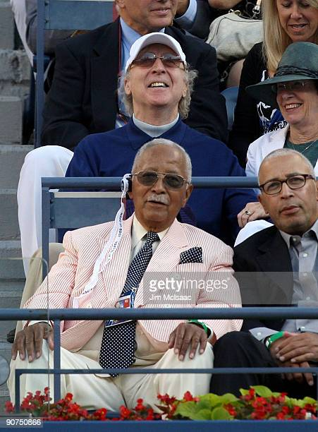 Actor Gene Wilder and former New York City Mayor David Dinkins watch the match between Roger Federer of Switzerland and Juan Martin Del Potro of...