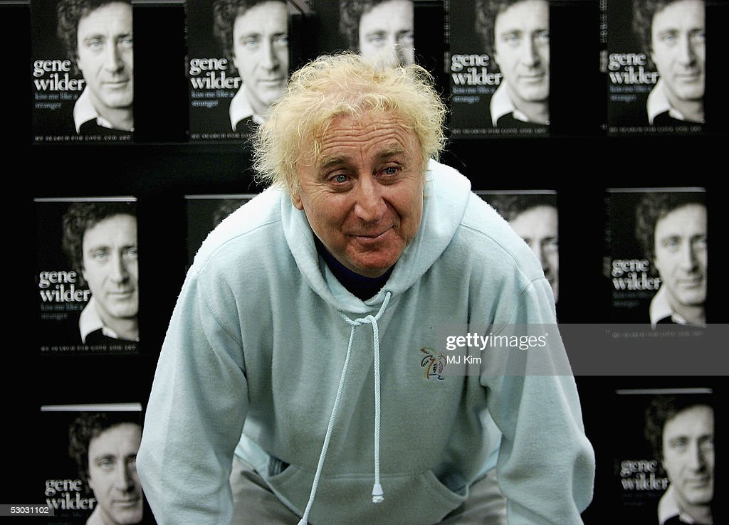 Actor Gene Wilder poses as he signs copies of his autobiography ?Kiss Me Like A Stranger?, at Waterstone's, Oxford Street on June 7, 2005 in London, England. The memoirs give an insight into Wilder's failed love life, his experiences of working with stars such as Richard Pryor and Woody Allen, his fight with, and victory over, cancer, and his time in the UK studying acting at the Bristol Old Vic.