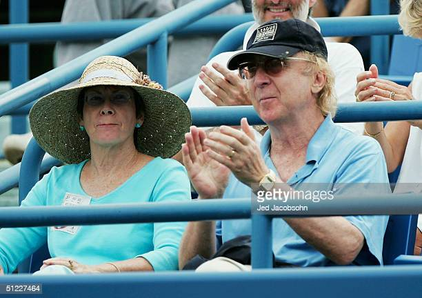 Actor Gene Wilder watches Elena Bovina of Russia play against Elena Dementieva of Russia during the semifinals at the Pilot Pen Tennis tournament on...