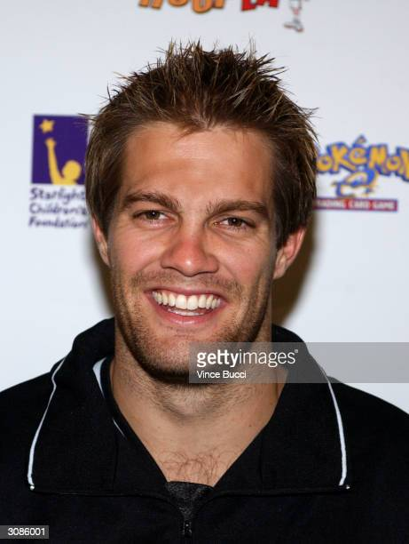 Actor Geoff Stults attends the Frankie Muniz HoopLA celebrity charity basketball game presented by Pokemon Trading Card Games on March 14 2004 in Los...