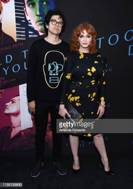 Actor Geoffrey Arend and actress Christina Hendricks arrive at the LA Special Screening of Amazon's Too Old To Die Young at the Vista Theatre on June...