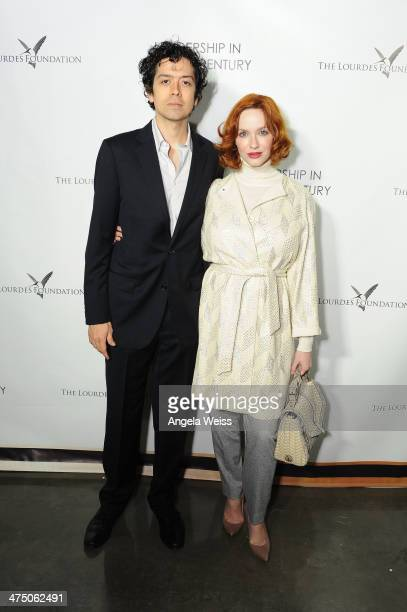 Actor Geoffrey Arend and actress Christina Hendricks attend The Lourdes Foundation 'Leadership in the 21st Century' Event with His Holiness the 14th...