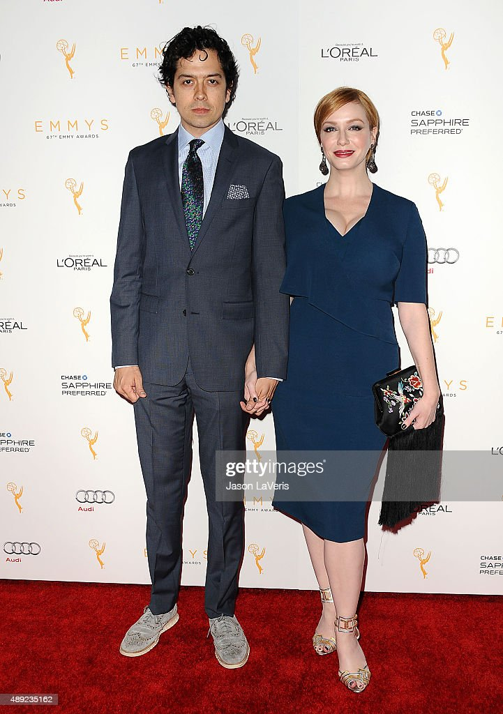 Actor Geoffrey Arend and actress Christina Hendricks attend the Television Academy's celebration for the 67th Emmy Award nominees for outstanding performances at Pacific Design Center on September 19, 2015 in West Hollywood, California.
