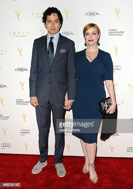 Actor Geoffrey Arend and actress Christina Hendricks attend the Television Academy's celebration for the 67th Emmy Award nominees for outstanding...