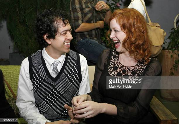 Actor Geoffrey Arend and Christina Hendricks attend an after party following a screening of '500 Days Of Summer' hosted by The Cinema Society with...