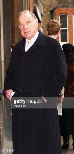 Actor Geoffrey Palmer arrives at the memorial service held in memory of Denni Quilley at St Paul's Church Covent Garden February 27 2004 in London