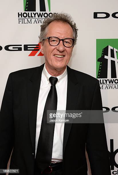 Actor Geoffrey Rush arrives at the 17th annual Hollywood Film Awards at The Beverly Hilton Hotel on October 21 2013 in Beverly Hills California