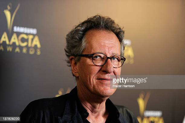 Actor Geoffrey Rush arrives at the Australian Academy Of Cinema And Television Arts' 1st Annual Awards at Soho House on January 27 2012 in West...