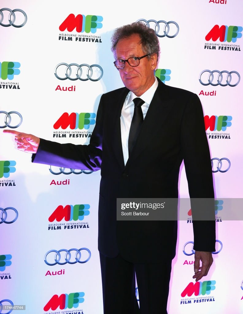 Actor Geoffrey Rush arrives at the Australian premiere of 'I'm So Excited' on opening night of the Melbourn International Film Festival at Hamer Hall on July 25, 2013 in Melbourne, Australia.