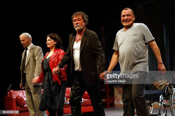 Actor Geoffroy Thiebaut Actress Christine Citti Actor Olivier Marchal and Actor Hammou Graia perform during 'Nenesse' Paris Premiere at Theatre...