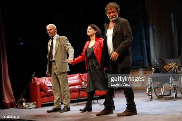 Actor Geoffroy Thiebaut Actress Christine Citti and Actor Olivier Marchal perform during 'Nenesse' Paris Premiere at Theatre Dejazet on January 9...